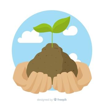 Persoon grijpen grond met de handen