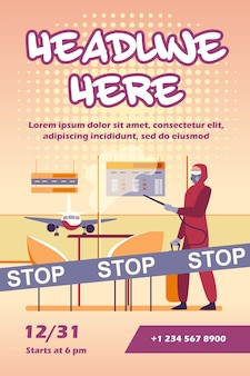 Persoon in beschermend kostuum luchthaven van virus flyer-sjabloon desinfecteren