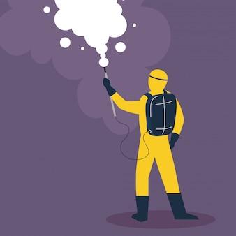 Persoon in beschermend pak of kleding, spray voor reinigings- en desinfectievirus, ziekte van covid 19, preventieve maatregel