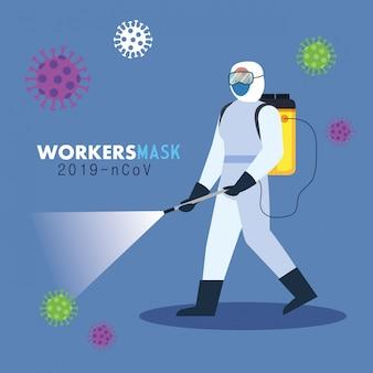Persoon in beschermende pak sproeien desinfectiemiddel voor reiniging en desinfectie covid 19, coronavirus preventie maatregel illustratie ontwerp