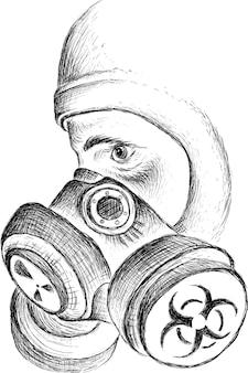 Persoon in een gasmasker met een bekkenmasker tijdens een bacteriologische of chemische bedreiging