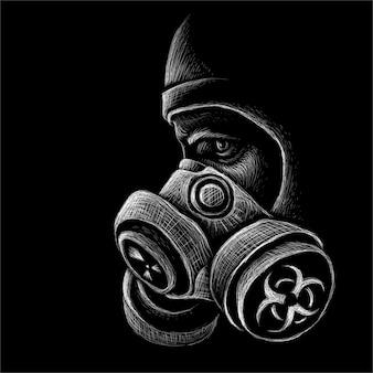 Persoon in een gasmasker tijdens een bacteriologische of chemische bedreiging