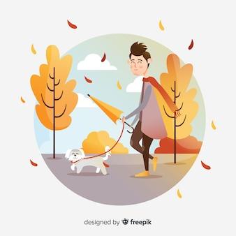 Persoon in een herfst park
