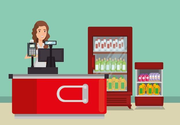 Persoon in het betaalpunt van de supermarkt