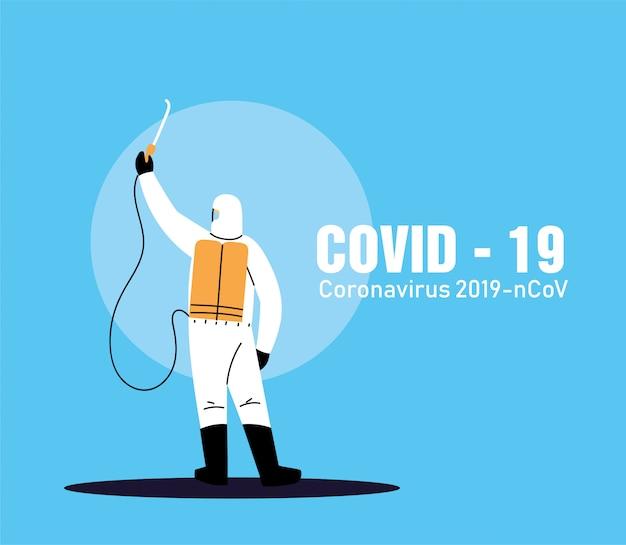 Persoon in pak om desinfectie te werken door covid-19