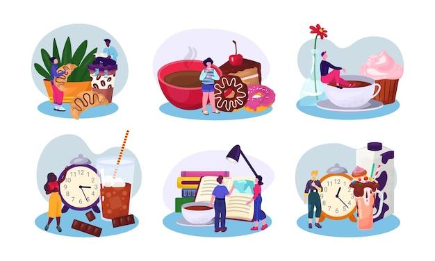Persoon instellen cartoon collectie met koffie
