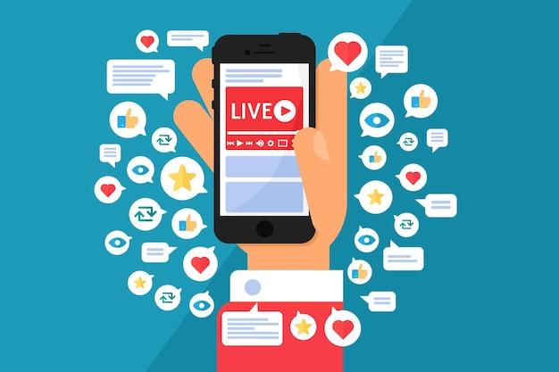 Persoon kijken naar online uitzending concept illustratie. smartphone in de hand semi-platte cartoon tekenen. livestream en extra functies op het scherm. vector geïsoleerd kleurpictogram