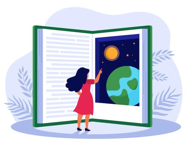 Persoon leesboek over mondiale wereld