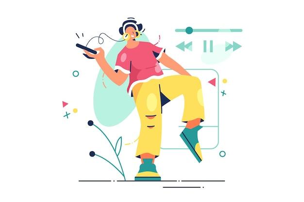 Persoon luisteren naar muziek illustratie