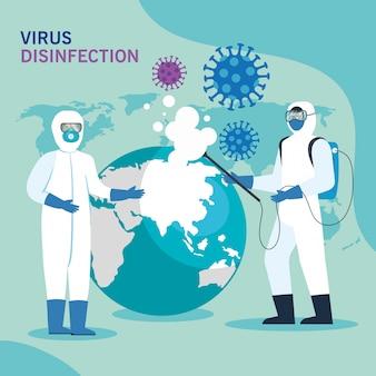 Persoon met beschermend pak voor het besproeien van de covid-19 met wereldplaneet, desinfectievirusconcept