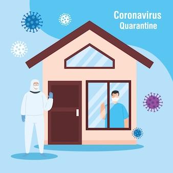 Persoon met biohazard pak en gevel huis