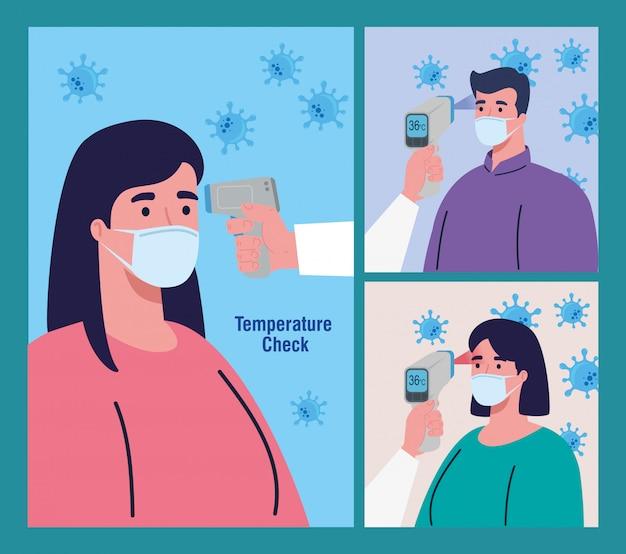 Persoon met desinfectiepak, met digitale contactloze infraroodthermometer, scènes instellen