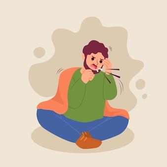 Persoon met een verkoudheid hoesten en boos zijn