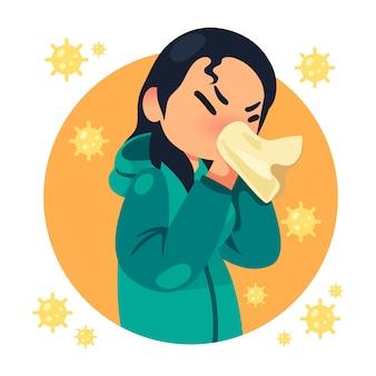 Persoon met een verkoudheid omringd door virusbacteriën