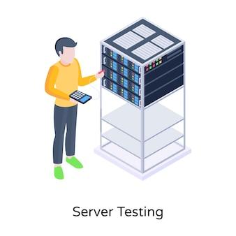 Persoon met server rack isometrisch icoon van server testen