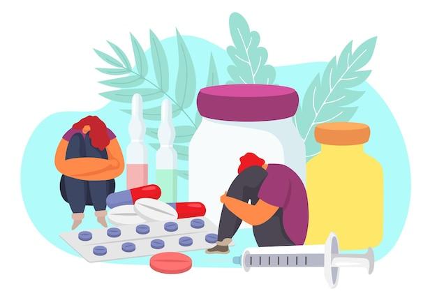 Persoon met stress probleem platte drugsverslaving illustratie