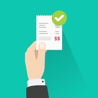 Persoon met succes goedgekeurd betaling papieren ontvangst factuur factuur illustratie