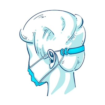 Persoon met verstelbare gezichtsmaskerband