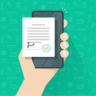 Persoon ondertekend mobiel digitaal overeenkomstformulier online of contractdocument op slimme mobiele telefoon met zegelstempel