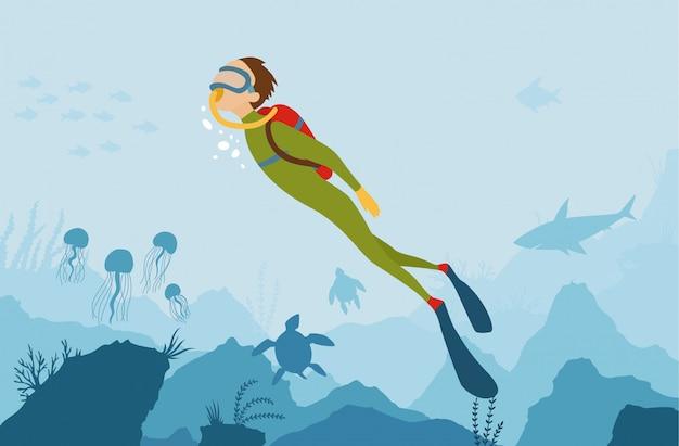 Persoon onderwater met zee flora en fauna