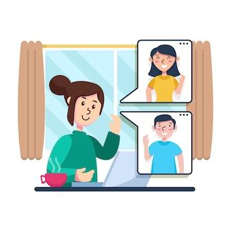 Persoon online praten met vrienden
