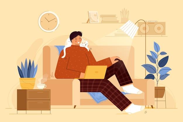 Persoon ontspannen binnenshuis illustratie