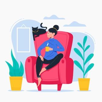 Persoon ontspannen op een stoel