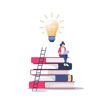 Persoon verwerft kennis voor succes en betere ideeën. onderwijs, online cursussen en zaken, afstandsonderwijs, online boeken en studiegidsen, examenvoorbereiding, thuisonderwijs, illustratie.