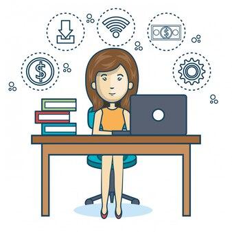 Persoon werkend kantoor pictogram