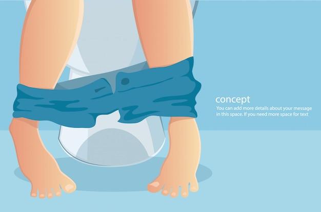 Persoon zittend op toilet met het lijden van constipated