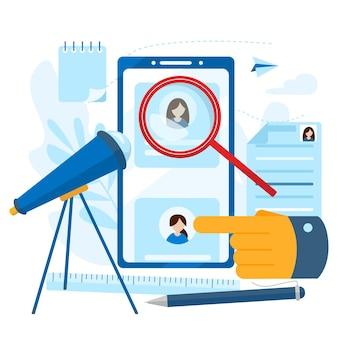 Persoonlijk dossier medewerker. concept van human resources, keuze, carrière, werkgelegenheid, cv, zoeken naar werk, professionele vaardigheid. moderne platte vector illustratie concept, geïsoleerd op een witte achtergrond.