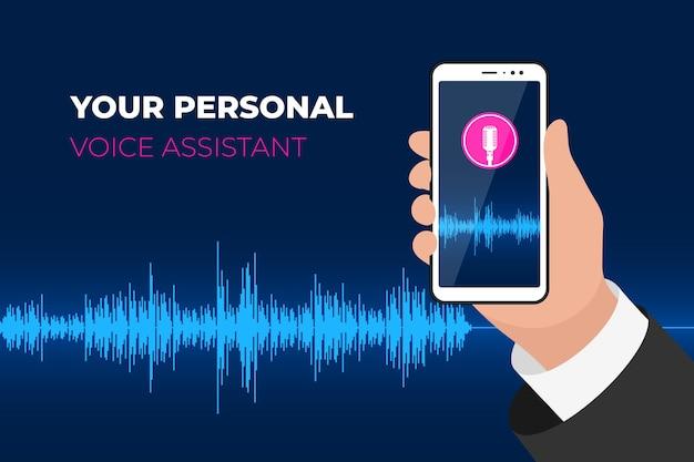 Persoonlijke assistent en spraakherkenning mobiele app hand met smartphone met microfoonknop