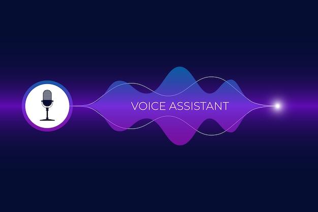 Persoonlijke assistent en spraakherkenningsconcept microfoonknop met heldere gradiënt geluidsgolf