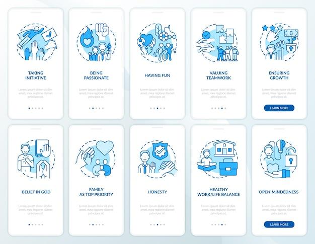 Persoonlijke, bedrijfsmoraal onboarding mobiele app paginascherm met concepten set