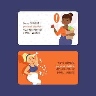 Persoonlijke diëtist set visitekaartjes sjabloon. zwaarlijvigheid concept. gezonde voeding voeding. overleg, gewichtsverlies, natuurlijk groentenvoedsel en fysiek