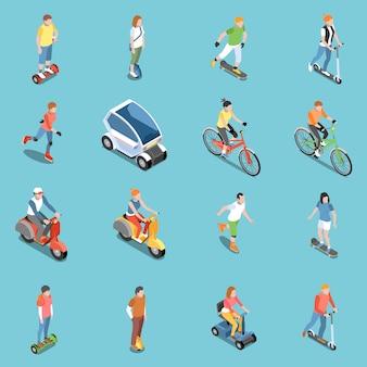 Persoonlijke ecotransportpictogrammen die met isometrische fiets en autoped worden geplaatst geïsoleerd