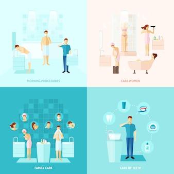 Persoonlijke en familiezorg icons set