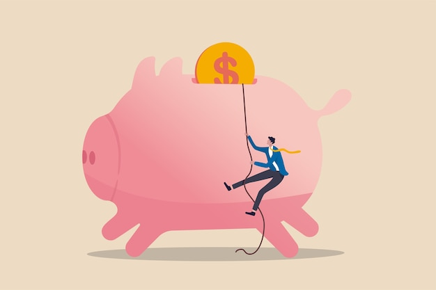 Persoonlijke financiële strategie, inkomstenbelasting of investeringsdoelstelling voor het concept van de pensionering van kantoormedewerkers, vertrouwen zakenman die touw gebruikt om roze spaarvarken te beklimmen met gouden geldmuntstuk als einddoel.