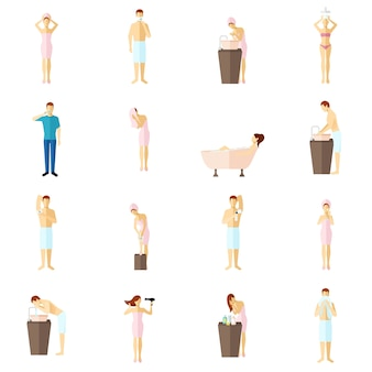Persoonlijke hygiëne vlakke pictogrammen instellen