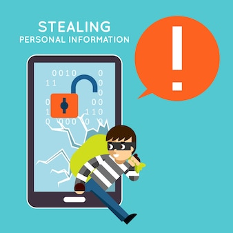 Persoonlijke informatie van uw mobiele telefoon stelen. bescherming en hacker, misdaaddiefstal, privacysmartphone,