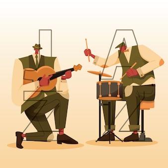 Persoonlijke jazzgitaar en drum in actie