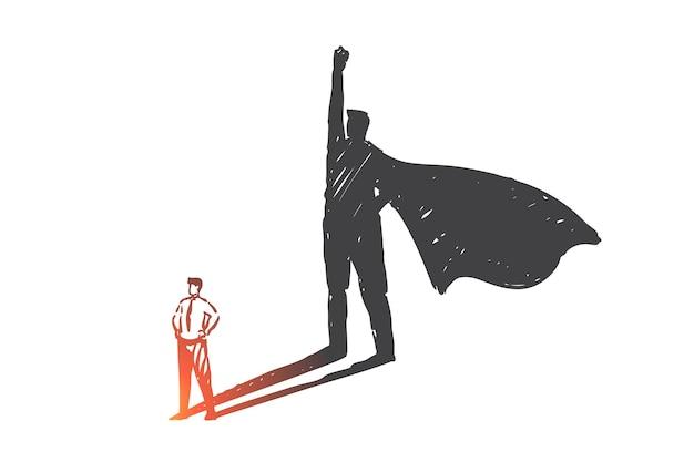 Persoonlijke ontwikkeling, leiderschap, ambitie concept schets illustratie