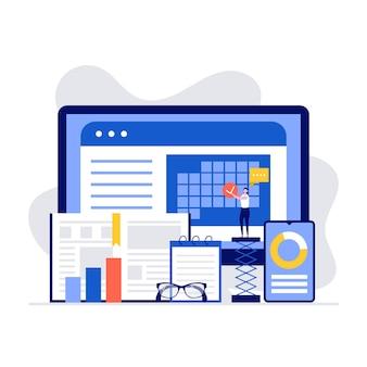Persoonlijke organisator en time management illustratie concept. vrouw planning en vinkje zetten computerscherm.