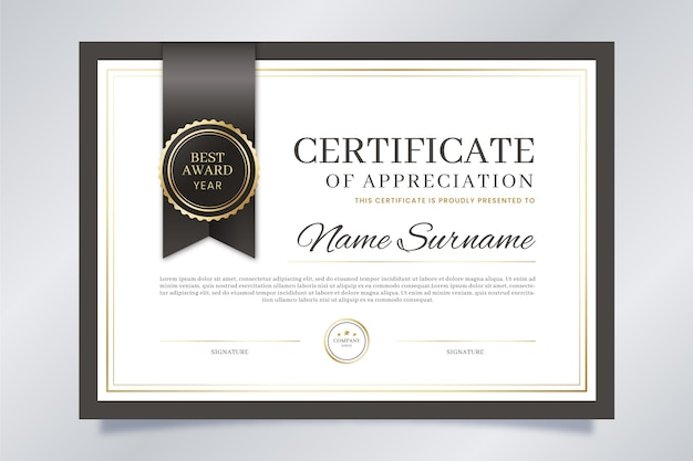 Persoonlijke prestatie op elegante certificaatsjabloon