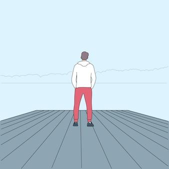 Persoonlijke reis en alleen reizen concept. persoon kijken bekijken.