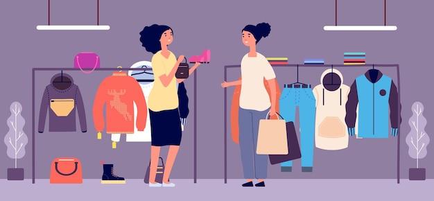 Persoonlijke shopper. winkelbediende, mode stylist vectorillustratie. platte vrouwen karakters. modewinkel en vrouwelijke kopers met boodschappentassen. persoonlijk shopper, kleding en schoenen