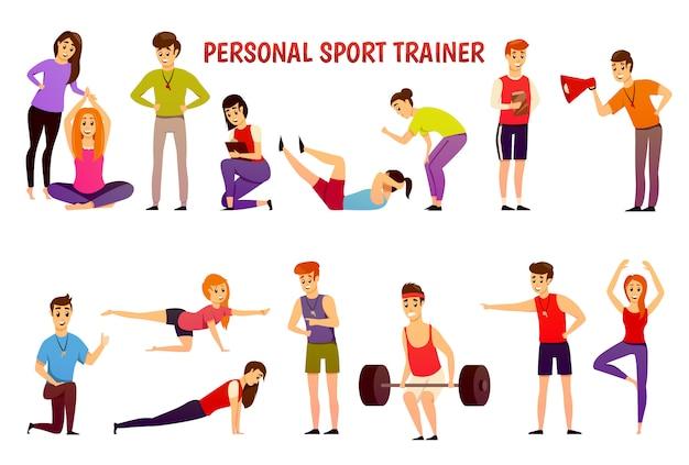 Persoonlijke sporttrainer orthogonale pictogrammen