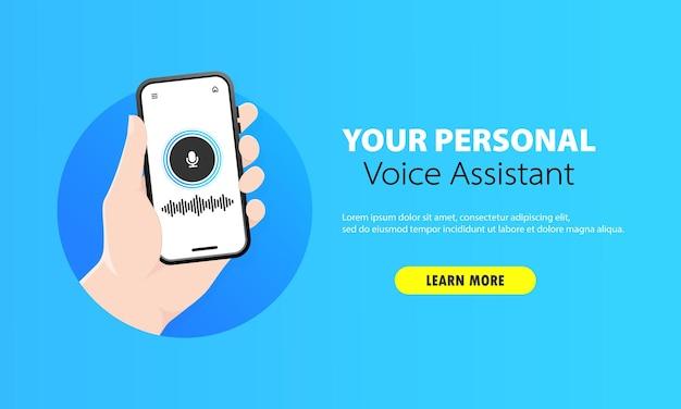 Persoonlijke stemassistent op smartphone-illustratie