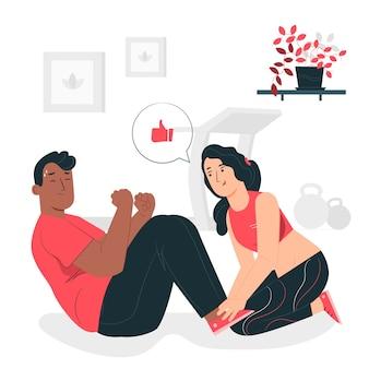 Persoonlijke trainer concept illustratie