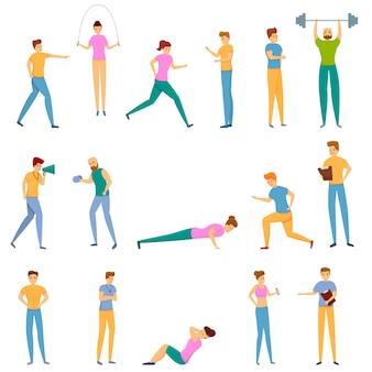 Persoonlijke trainer iconen set, cartoon stijl